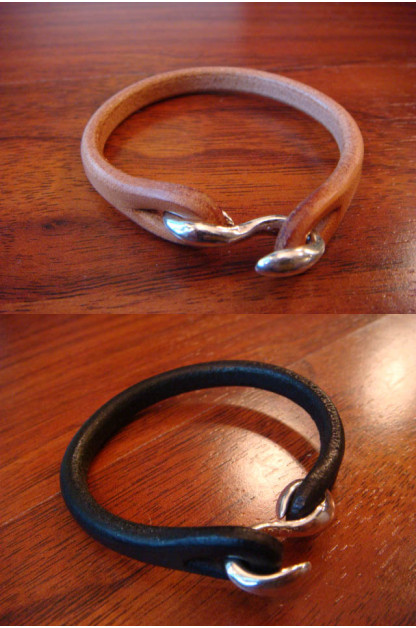 Flat Head Leather & Silver Bracelet - Single Strand